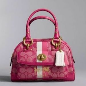 Coach Heritage Stripe Domed Satchel in Hot Pink